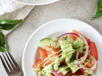 Green Goddess Cucumber Tomato Salad