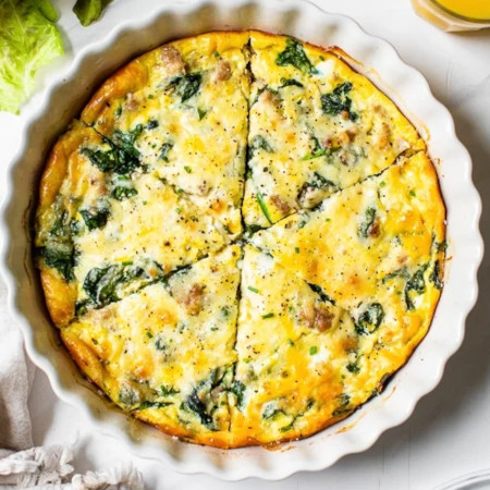 Crustless Sausage and Spinach Quiche