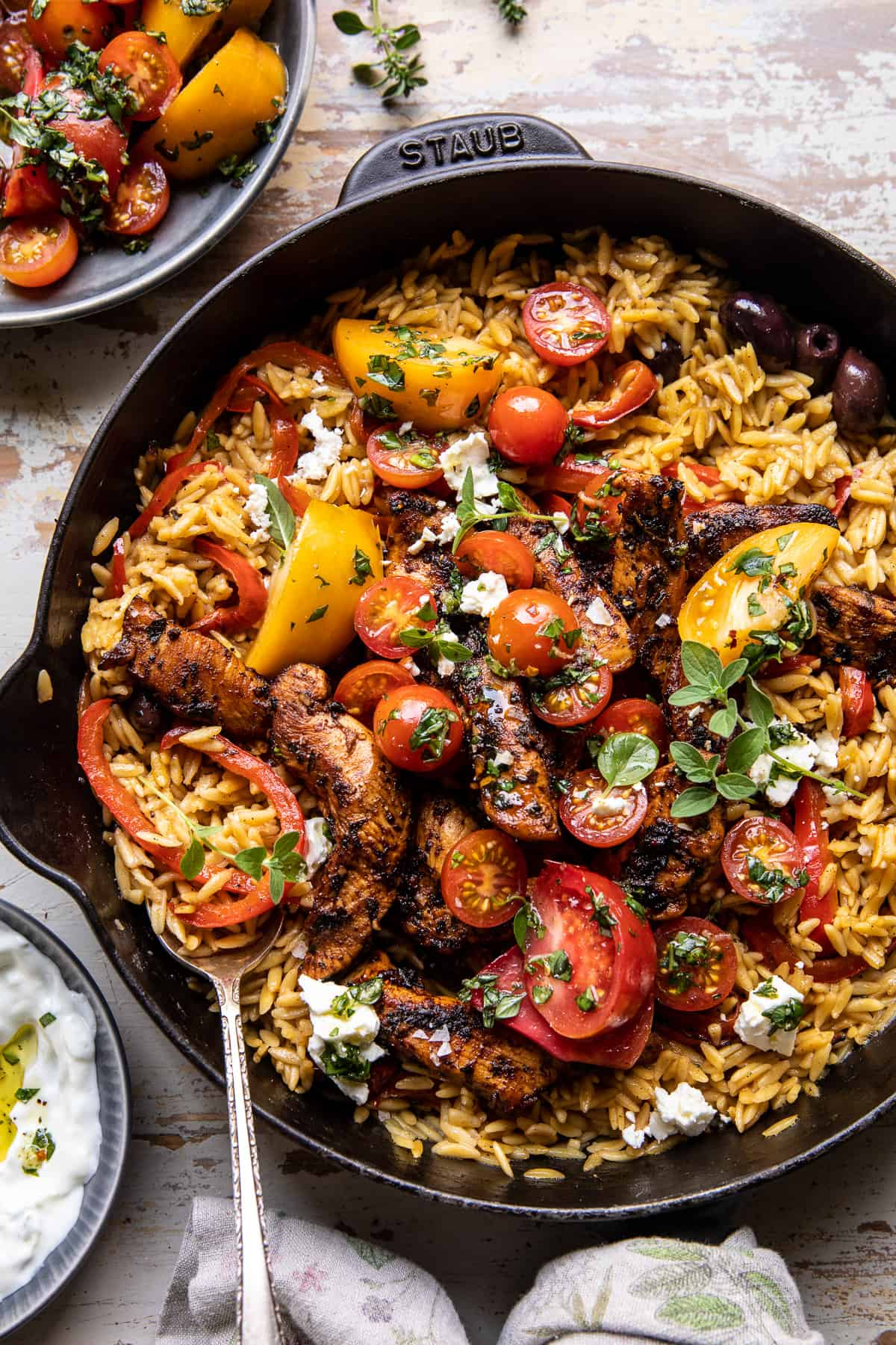 One Skillet Greek Chicken and Orzo with Tomatoes, Feta, and Tzatziki